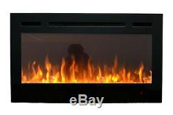2019 36 Inch Wide Led Flames Black Glass Truflame Wall Mounted Electric Fire