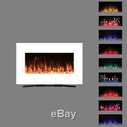 2019 36 Inch Wide Led Flames White Glass Truflame Wall Mounted Electric Fire