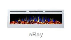 2019 50 Inch Inset Led Flames White Glass Truflame Wall Mounted Electric Fire