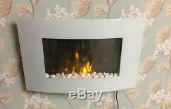 2019 Led Flames 7 Colour White Glass Truflame Curved Wall Mounted Electric Fire