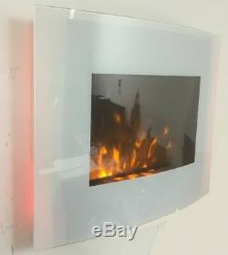 2019 Truflame 7 Colour Led White Glass Arched Electric Wall Mounted Fire 66cm
