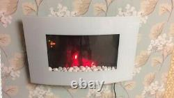 2020 Led Flames 7 Colour White Glass Truflame Curved Wall Mounted Electric Fire