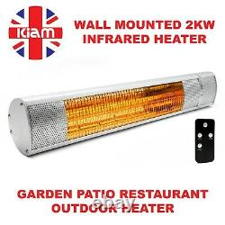 2KW Outdoor Electric Patio Heater Garden Wall Mounted Infrared Waterproof Remote