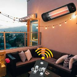2kw Infrared Outdoor Patio Heater Electric Garden Mounted Remote & Wall Fittings