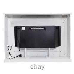 34 Inch Electric Fire Fireplace Set Free Standing White Surround LED Light Home