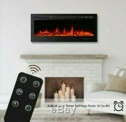 36 Inch Led Digital Flames Black Insert / Wall Mounted Electric Fire 2020 Remote