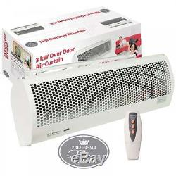 3kw Electric Over Door Warm Air Curtain Fan Heater Thermal OP + Remote Control