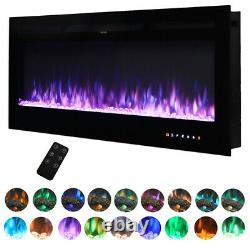 40/50/60 in-Wall Recessed Mount Electric Fireplace Insert LED Flame Fire Heater