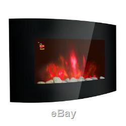 42 2KW LED Curved Glass Electric Fireplace Wall Mounted Fire Place + Remote