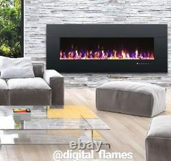 50 60 72 82 Inch Led Digital Flames Black White Inset Wall Mounted Electric Fire
