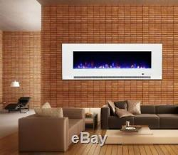 50/60/72 Inch 10 COLOUR LED White Black Wall Mounted Flushed Wide Electric Fire