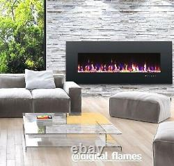 50 60 72 Inch Led Digital Flames Black Inset Wall Mounted Electric Fire 2021