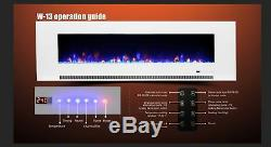 50 60 72 Inch Led'digital Flames' Black/white Glass Wall Mounted Electric Fire