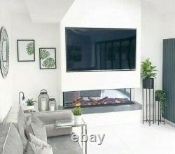 50 60 72 Inch Stunning Panoramic Inset Electric Fire 3 Sided Full Glass Tank