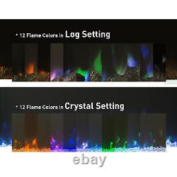 50'' Electric Wall Mounted Fireplace LED Adjustable Heater 12 Flame Log withRemote