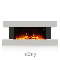 50 INCH WIDE LED FLAMES WALL MOUNTED ELECTRIC FIRE FLAT GLASS FIREPLACE WithREOMTE
