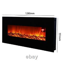 50 Inch Electric Fire Fireplace Wall Hung LED Flame Effect Heater with Remote
