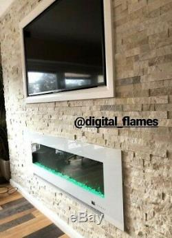50 Inch Led'digital Flames' White Black Insert Wall Mounted Electric Fire 2020