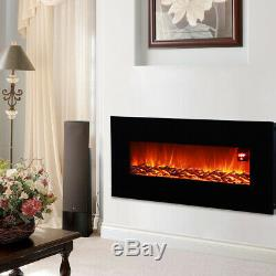 50 inch Wall Mounted Electric Fire Black Flat Glass with Remote Control