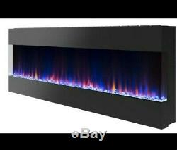 60 Inch Digital Flames Black Recess Wall Mounted Electric Fire 3 Sided Fish Tank