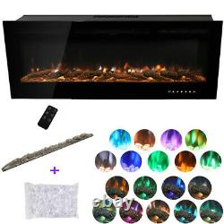 60 inch Electric Fire Insert/Mounted Fireplace with Crystal Media 9 Color Flames