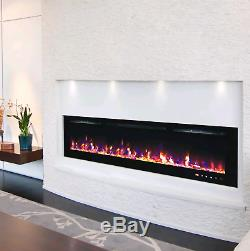 72 Inch Led Flames Modern Black Glass Wall Mounted Electric Fire 2020 Model