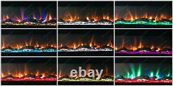 78 Inch Wide Led Flames Black Glass Wall Flushed Inset Electric Fire 2021 Model