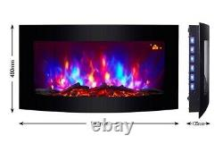7 Colour Led Flame Effect Truflame Log Effect Curved Wall Mounted Electric Fire