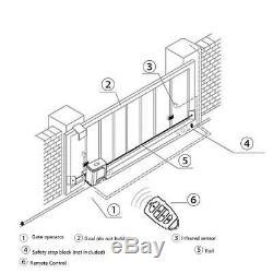 Automatic Sliding Gate Opener Kit Door Electric 2 Remote Control Racks 600KG