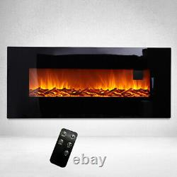 Black Electric Fire 50/30 Inch Insert Wall Mounted Fireplace LED Log Flame Light