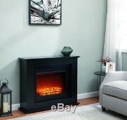 Black LED Electric Fireplace Log Burning Flame Effect Standing Fan Heater 1.5KW