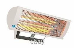 Calor-Luz 2.3 kW Wall Mounted White Patio Heater Light, Remote & Sensor #1462