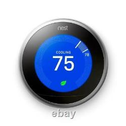 Certified Google Nest 3rd Gen Learning Thermostat withBase Stainless Steel T3007ES