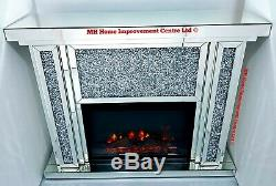 Diamond Crush Crystal Sparkly Silver Mirrored Electric LED Fireplace & Surround