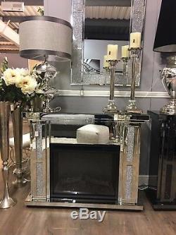 Diamond Glitz Crystal Mirror Electric Fire Fireplace Surround Mantel Mantelpiece