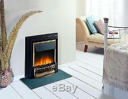 Dimplex Cheriton Freestanding Optiflame Electric Fire Black/Brass Real Coals