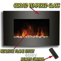 Electric Fire Fireplace Curved Black Glass Wall Mounted Flame Living Room Heater