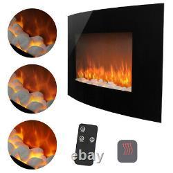 Electric Fire Fireplace Widescreen Glass Wall Heater Pebbles Fuel Flicker Flames