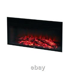 Electric Fire Inset Fireplace Heater 34/50 Inch Wall Mounted with Remote Flames