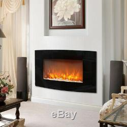 Electric Fire Inset Fireplace Heater with Remote Control White Wooden Mantel 2Kw