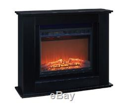 Electric Fire Inset Fireplace Surround Heater Black Wooden Mantel 100cm 1.5KW