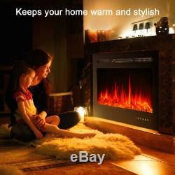 Electric Fire Wall Mounted Fireplace 9 Color 1800W 3650 Remote Control LED