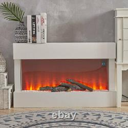 Electric Fireplace Heater LED Fire Flame White Surround Free Standing Hanging UK