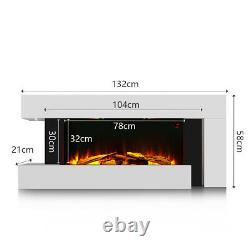 Electric Fireplace Heater LED Fire Multi Flame White Surround Free Standing Wall