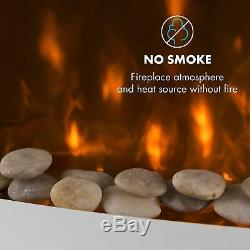 Electric Fireplace Heater Modern Fire Flame Effect Wall Mounted Remote 2000W