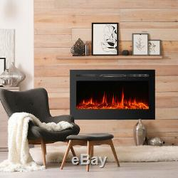 Electric Fireplace Insert Wall Mount Heater Mount Adjustable Flame 36 50 Black