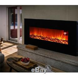 Electric Fireplace Wall Mounted Remote Fire Heater Large Glass Screen 50INCH 2KW