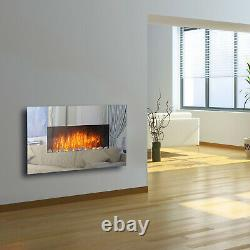 Electric Mirror Glass Fire Fireplace Wall Mounted Designer Large Flicker Flame
