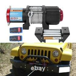 Electric Recovery Winch12v 4500lb-Heavy Duty Steel Cable, Car Boat Remote Control