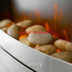 Electric Silver Flat To Wall Remote Control Pebble Coal Freestanding Led Fire